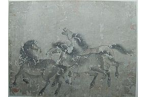 Painting, three horses, China, Song / Yuan dynasty