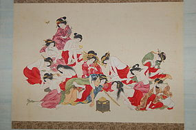 Scroll, shunga, smoking man, women, Japan Meiji era