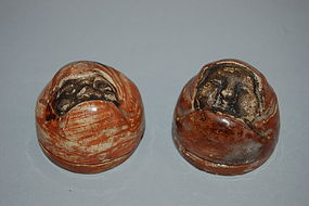 Two ceramic kogo, Daruma, Raku-ware, Japan, Meiji era