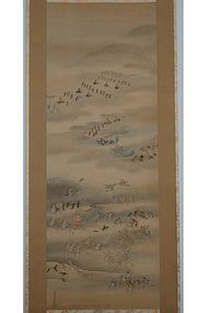 Scroll painting, war of insects, mitate, Japan, Edo per