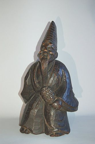 Wooden sculpture, sambaso dancer, Japan, Meiji/Taisho