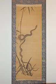 Scroll painting, snake and bamboo, Japan, Meiji era