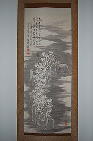 Scroll painting, begging monks, skeletons, Japan Taisho