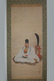 Scroll painting, samurai, Ono Gyokurei, Japan  Edo period