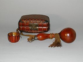 Rattan & bamboo lunch basket with gourd and cup, Japan Meiji era