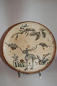 Blue and white oil plate, deer, Shino ware, Japan Edo period