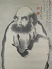 Buddhist scroll, sumie, standing Daruma, Japan Taisho era