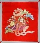 Embroidered fukusa, gift cloth cover, kusudama, Japan 20th c.