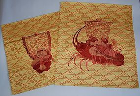Pair embroidered fukusa cover, treasure ship, lobster, Japan 20th c
