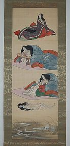 Buddhist scroll painting, stages of decomposition, Japan, 19th c