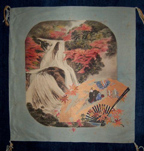 Embroidered hand-painted silk fukusa cover, Hitomaro, Japan Meiji