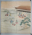 Hand-painted and embroidered silk fukusa cover, Genji, Japan Meiji
