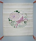 Silk hand-embroidered fukusa gift cloth, chrysanthemum, Japan 20th c.
