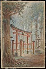 Watercolor, shrine entrance, H. Kato, Japan 1920s