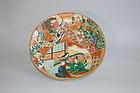 Kutani charger, Genji, stoneware, Japan Meiji era