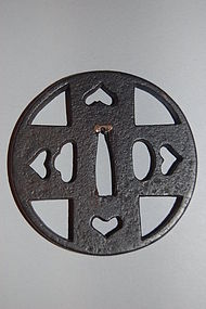 Iron sukashi tsuba in the shape of a cross, Japan, Owari 18th century