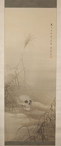 Scroll painting, skull in field between fall grasses, Japan, 1915