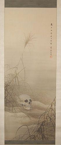 Scroll painting, skull in field between fall grasses, Japan, 1915