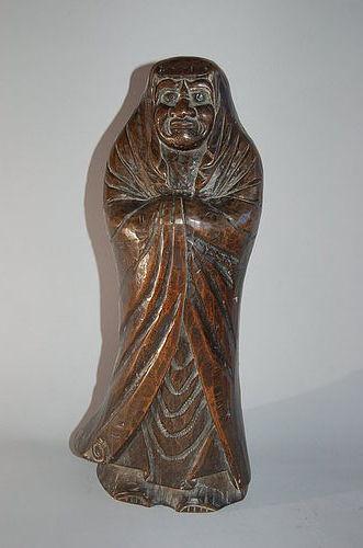 Standing Daruma, keyaki wood, mingei, Japan, Meiji era