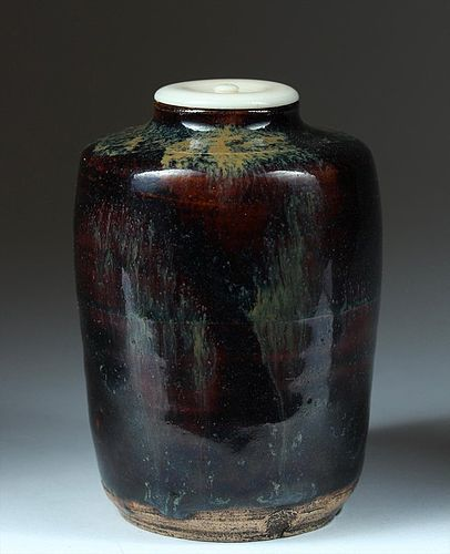 Stoneware chaire tea caddy, perhaps Seto, Japan 18th century