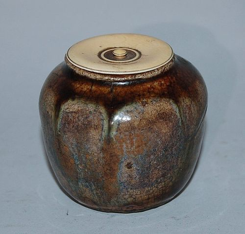 Small chaire tea caddy, stoneware, Ki-Seto, Japan 17th century