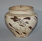 Small jar, stoneware, Cizhou style, floral design, Asia 19th century