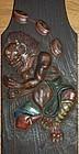 Hashira-kakushi, wooden panel, Raiden, Kenzan studios, Japan Meiji