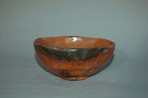 Chawan tea bowl, red Raku ware, Japan, Edo period