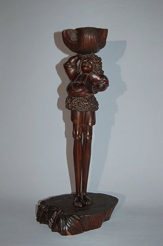 Wooden sculpture, Ashinaga, South Sea Islander or Dutchman, Japan