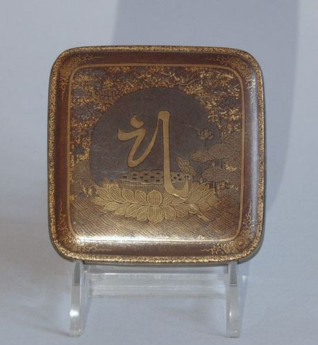 Gold lacquer kogo incense box, Kannon, Japan, 18th century