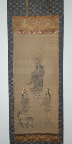 Hanging scroll, Shaka Nyorai, Fugen and Monju bosatsu, Japan 19th c.
