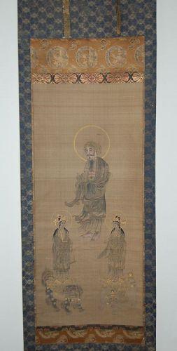 Hanging scroll, Shaka Nyorai, Fugen and Monju bosatsu, Japan 19th c.