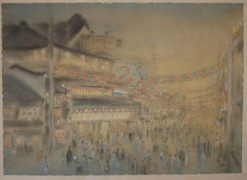 Scroll painting, evening at Minami-za, Tenjaku, Kyoto, Japan, 1927