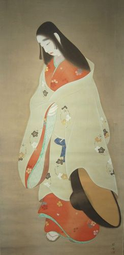 Large hanging scroll, court lady in travel dress, Japan, Taisho era