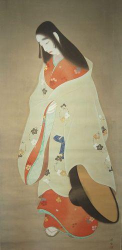 Large hanging scroll, court lady in travel dress, Japan, Taisho era