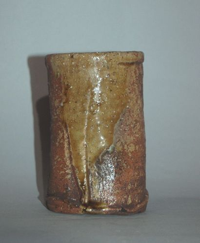 Small stoneware wall vase, Shigaraki ware, Japan, Meiji-Taisho era