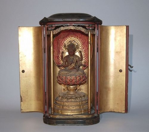 Zushi Buddhist shrine, sitting Aizen Myoo, Japan, 18th century