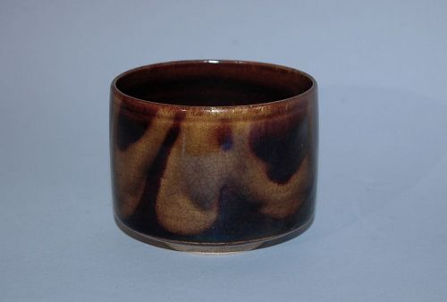 Chawan tea bowl, brown and yellow glaze, Takatori ware, Japan 19th c