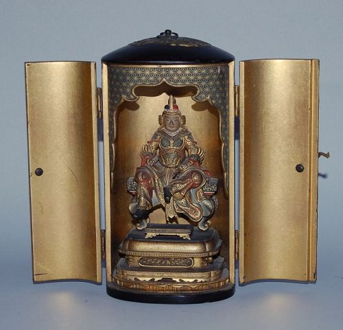 Zushi hand shrine, sitting guardian, Komokuten, Edo-Meiji era, Japan