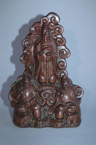 Stoneware statue of Dewa Sanzan deities, Bizen ware, Japan