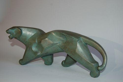 Bronze sculpture of a leopard, abstracted, Saegawa Sotaro, Japan