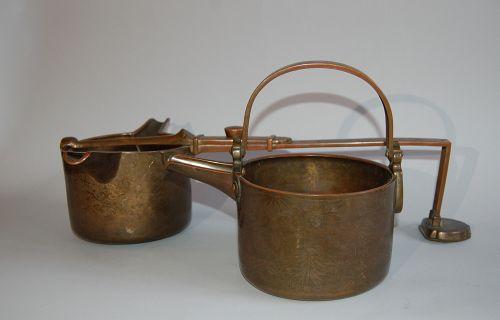 Set of bronze engraved ceremonial sake ewers, Japan, Edo period