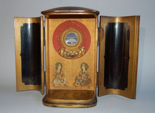 Zushi, reliquary, Shakyamuni, Fugen and Monju bosatsu, Japan 18th c