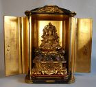Zushi shrine, Uga Benzaiten on lotus dais, rocks, Japan Edo per., 1800