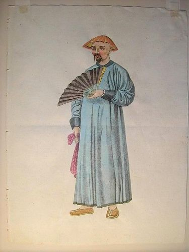 Hand-painted watercolor, man standing with fan, England or France