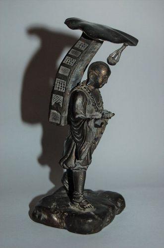 Bronze figure, monk priest Genjo Sanzo hoshi or Xuangzang, Japan