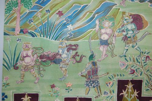 Silk obi woman's sash, Momotaro, dog, monkey, pheasant, oni, Japan