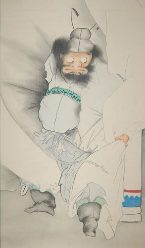 Scroll painting, Shoki with wind bag of Futen, oni in the rain, Japan