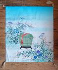 Silk fukusa ceremonial cloth, cricket in cage, summer flowers, Japan