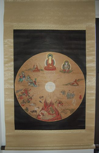 Scroll painting, chakra, jikkai-zu, ten worlds of rebirth, Japan